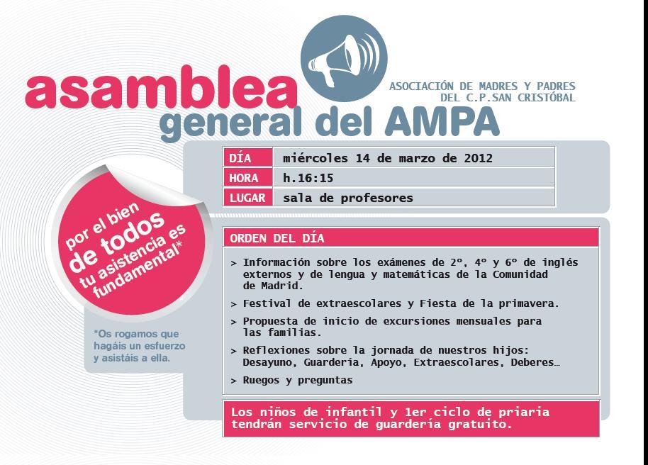 Asamblea General del AMPA, 14 Marzo, 16:15