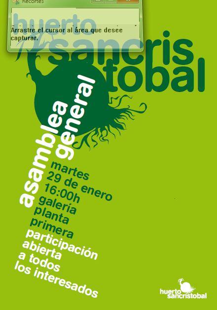 HUERTO SAN CRISTOBAL: ASAMBLEA GENERAL 29.1.2013 - 16:00