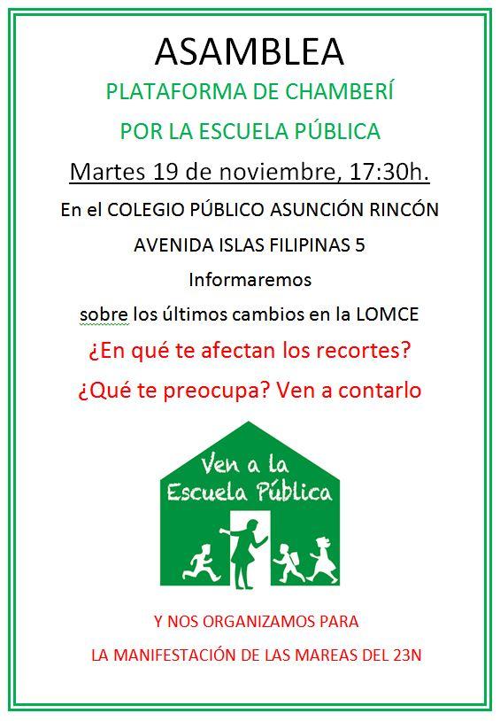 ASAMBLEA PLATAFORMA DE CHAMBERÍ POR LA ESCUELA PÚBLICA - 19-11-2013