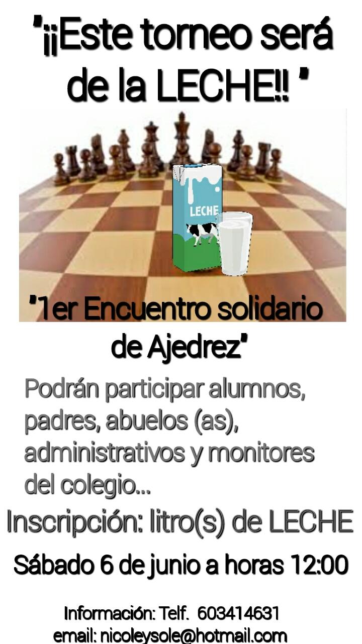 Primer Encuentro solidario de ajedrez. Sábado 6 de junio 12h en el colegio.
