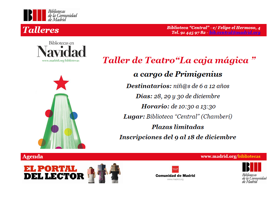 Taller de teatro La Caja Mágica. Para niños de 6 a 12 años. 28, 29 y 30 de diciembre.