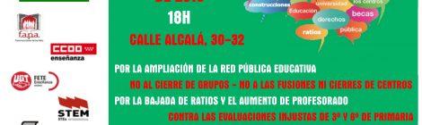 Concentración en defensa de la Escuela Pública. Frente a la consejería de Educación. Jueves 28, 18h