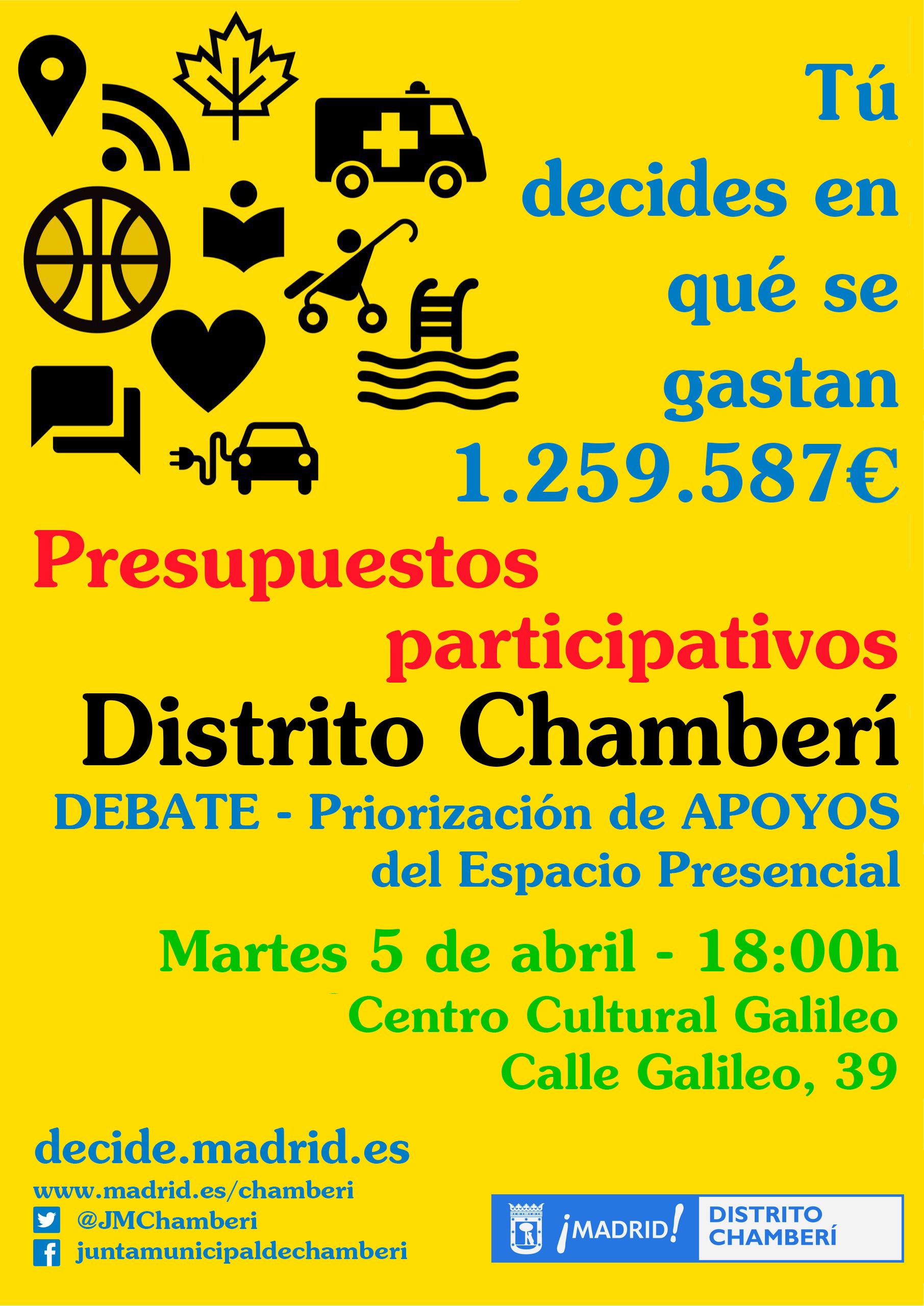 Presupuestos participativos en Chamberí. Se inicia la fase de apoyos. ¡Participa!
