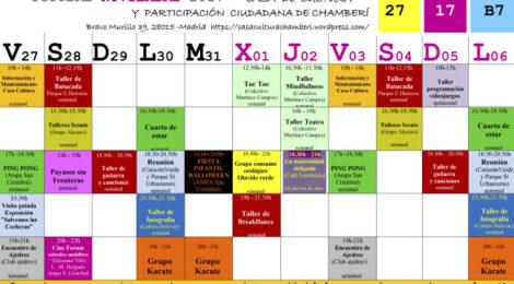 Actividades de la Casa de Cultura y Participación Ciudadana de Chamberí del 27 octubre al 6 de noviembre