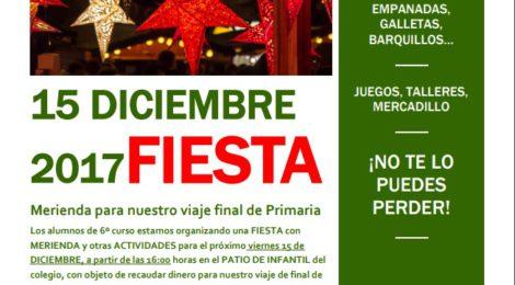 Fiesta Merienda para el viaje de fin de primaria. 15 de diciembre